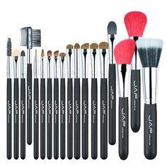 JAF 18 Pcs Make Up Brush Set Natural Super Soft Red Goat Hair & Pony Horse Hair Studio Beauty Artist Makeup Brushes