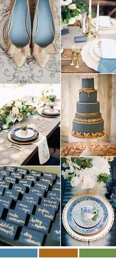 spring summer wedding 2017 - Niagara blue and gold wedding color idea