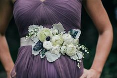 Fresh floral belt for bridesmaid/ groomsmaid featuring ranunculus; designed by Love 'n Fresh Flowers; photo by Love Me Do Photography