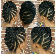 Regal flat twisted updo by Sabrina (saba_reena)! BOOKING: or SROwens click now for more info. Natural Hair Twist Out, Natural Hair Braids, Natural Afro Hairstyles, African Hairstyles, Natural Hair Care, Natural Hair Styles, Natural Updo, Flat Twist Hairstyles, Flat Twist Updo