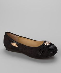 Take a look at this Black Jasmin Flat by Marilyn Moda on #zulily today!