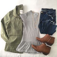 Outfit Flatlay - military jacket, black and white striped shirt, jeans, booties