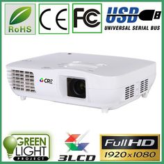 720.00$  Buy now - http://alitku.worldwells.pw/go.php?t=32710974546 - 5% Discount CRE X2000VX 1920*1080 2HDMI 2USB VGA ATV 2Video DVI data show projector