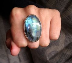 Large Oval Light Blue and Grey Labradorite Sterling by GildedBug