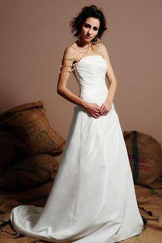 A-line Strapless Pleated Asymmetric Bodice Taffeta Wedding Dress-wa0122, $229.95