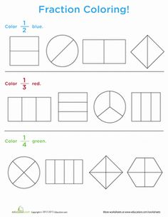 Learning fractions doesn& have to be boring! Make it fun with this coloring worksheet. Kids get math practice as they color in a fraction of each pictured object. This worksheet covers the fractions and Math Fractions Worksheets, Learning Fractions, Kindergarten Worksheets, Teaching Math, Maths, Super Worksheets, Math For Kids, Fun Math, 1st Grade Math