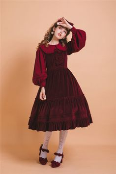 little sister velvet lolita Japanese Street Fashion, Tokyo Fashion, Harajuku Fashion, Kawaii Fashion, Lolita Fashion, Quirky Fashion, Cute Fashion, Girl Fashion, Fashion Outfits