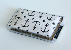 Mini Card Holder / Ahoy - Dear Sukie, mini card, moo card, small wallet, snap, vinyl, paper, cute, men, anchors, wood, boats, nautical