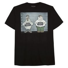 Family Guy Men's Big & Tall Petter Griffin Mug Shot T-Shirt Black