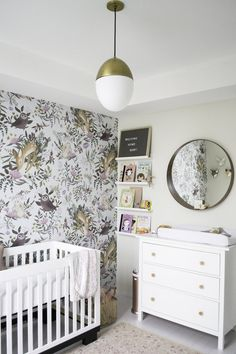 Bright & Whimsical Woodland Girl Nursery Baby girl nursery woodland with wallpaper feature wall. via Project Nursery Woodland Nursery Girl, Whimsical Nursery, Baby Girl Nursery Themes, Baby Boy Rooms, Floral Nursery, Nursery Ideas, Nurseries Baby, Nursery Floral Wallpaper, Fairy Nursery Theme