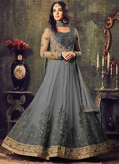 Shop Online Grey Net #LongLengthSalwarSuit  @Chenaistore.com