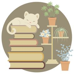 Create a Sleeping Cat on a Pile of Books and Indoor Plants Adobe Illustrator #graphicdesign