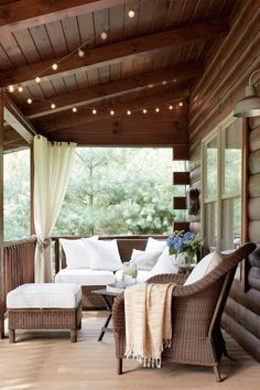 String lights are an easy, affordable way to turn your porch into an enchanting oasis. Let them drape from the ceiling or a railing, or hang them from a wall.   RELATED: 65+Porches and Patios We'd Love to Relax On