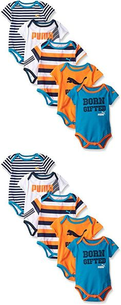 PUMA Baby Boys' 5 Pack Bodysuit Pack, Fire Orange, 0/3M