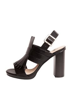 Leather-look strappy sandals,topped with fringe details. Ankle buckle fastening.    Heel Height: 9,4 cm   Fringe Heeled Sandals  by Vanessa Wu. Shoes - Sandals - Heeled Netherlands