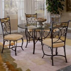 Hillsdale Pompei 5-Piece Dining Set with Glass Top-Black Gold/Slate Mosaic - HL2049