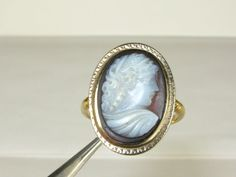 Antique Victorian 1800's Carved Cameo of a Beautiful Lady 10k Y Gold Ring 3.6g