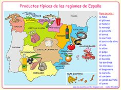 Me encanta escribir en español: la alimentación - Typical foods produced in Spain by region