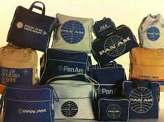 The Iconic Pan Am Bag - Fly Pan Am. One of the joys of flying Pan Am was receiving a blue or white Pan Am bag. A brilliant marketing strategy that was carried and seen around the world.