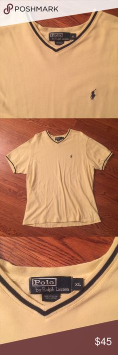 💥AUTHENTIC💥  Polo Ralph Lauren V-Neck Sweater This is an Authentic Polo Ralph Lauren V-Neck Sweater in Men's size XL. This sweater is 100% cotton. Banana yellow and navy blue in color. Great condition. This is a beautiful classic piece. Polo by Ralph Lauren Sweaters V-Neck