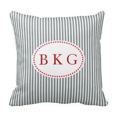 #Personalized #Monogram #Nautical #Stripes #Grey #Red #White #Pillows #Cushions http://www.zazzle.com/nautical_stripes_custom_monogram_grey_red_white_pillow-189765011432824736?rf=238213022379565456