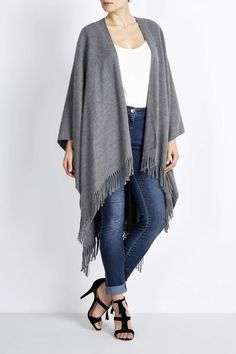 Grey Woven Fringed Wrap - Wallis