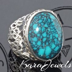 925 Sterling Silver Men's Ring with natural Tibetan Turquoise Firoza Handmade #KaraJewels #Handmade