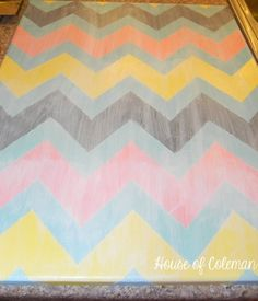 After painting the Chevron stripes in color brush white over vertically and horizontally. Makes it lighter and gives it a linen-like texture.