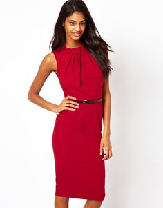 ASOS | ASOS Sleeveless Pencil Dress With Twist Neck And Belt at ASOS