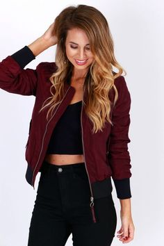Time Bomber Jacket Burgundy