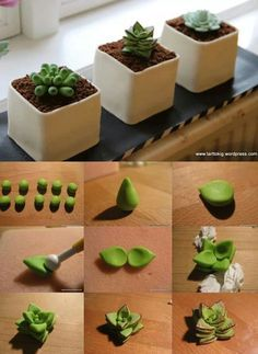 Succulent tutorial really great idea for mini cakes for all your cake decorating supplies please visit craftcompany co uk Polymer Clay Projects, Polymer Clay Creations, Diy Clay, Crea Fimo, Cake Decorating Supplies, Decorating Tips, Fondant Flowers, Sugar Flowers, Clay Tutorials