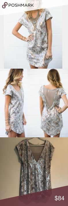 "Free People | Sequin Shattered Glass Dress L Sparkly and unique fun dress for a party or event Condition: Brand new with tags and never worn!  Details from website: -V neck -Cap sleeves -Sheer front and back mesh panels -All over sequin pattern details -Hi-lo hem -Approx 36"" length in size L -100% polyester, hand wash cold Free People Dresses"