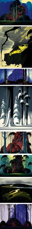 The amazing landscape paintings of Eyvind Earle, former Disney matte painter. I love how this vivid and playful style manages to also captures an air of grandeur. I imagine this could be the Hudson River School of some strange fantasy world.