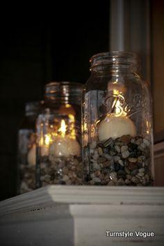 Mason Jars...pebbles or rocks and candles!!