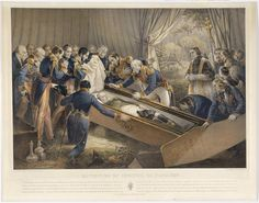 The opening of Napoleon's casket on St. Helena in October 1840, by Nicolas-Eustache Maurin. Napoleon's body was perfectly preserved.