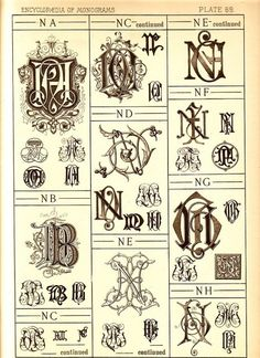 1884 Antique N Monograms Page  Letter Style by UncommonEye on Etsy