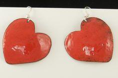 Medium Sized Bright Red enamel earrings on Sterling Silver ear wires 2497