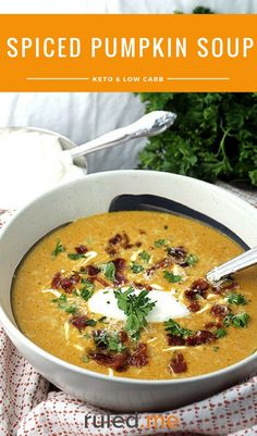 A low carb spiced pumpkin soup perfect as a meal, or even as a side to your salad. #ketodiet #ketorecipes #ketogenicdiet