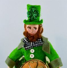 Leprechaun Doll Miniature Pot of Gold Smoking Pipe Irish Saint Patrick's Day Art Collectible