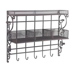 Catch mail and coats in the entryway with this scrolling wall rack, featuring mesh baskets for holding outdoor essentials.Product: