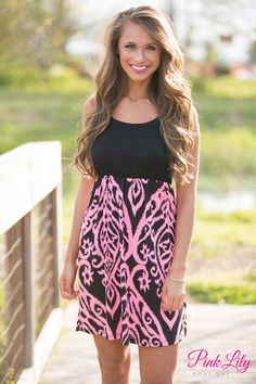 Conquer the fashion world in our sweet little mini dress! Featuring neon pink and black in damask print, this dress will be a knockout at any formal or informal function! Pink Mini Dresses, Cute Dresses, Casual Dresses, Casual Clothes, Cute Fashion, Modest Fashion, Fashion Outfits, Fashion Ideas, Boutique Tops