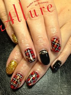 Red plaid nail art with belt accent nail - too cute!