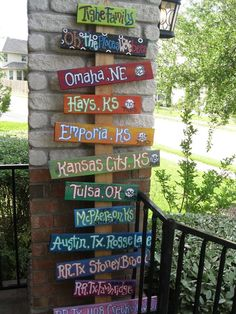 Travel Signs Street Signs Backyard Signs Custom Order for your 10 Signs and your colors Backyard Signs, Garden Signs, Kansas City, Directional Signs, Street Signs, Outdoor Gardens, Wood Crafts, Wood Projects, Wood Signs