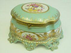 Sevres style porcelain jewelry casket :