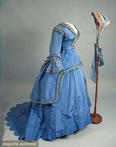 VISITING DRESS & BONNET, c. 1870