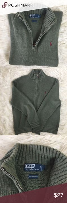 """Men's Ralph Lauren sweater size large Beautiful men's quarter zip Polo by Ralph Lauren 100% Pima cotton sweater. Very warm and gently used. Sleeves are 25"""". Top of shoulder to bottom is 25"""" chest is 44"""" around. Heathered army green Polo by Ralph Lauren Sweaters"""