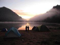 sunrise mist in Ranu Kumbolo - Semeru Mountain. East Java, Indonesia