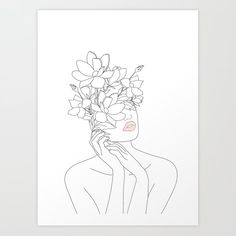 Buy Minimal Line Art Woman with Magnolia Art Print by nadja1. Worldwide shipping available at Society6.com. Just one of millions of high quality products available.