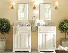 i love the separate sinks and the colors are neutral and light