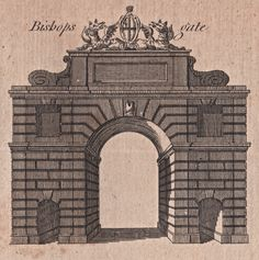 Bishopsgate - The City Gates as they appeared before they were torn down - reproduced in Harrison's History of London - 1775 Old London, London City, London Drawing, Old Gates, Old King, London History, Brick Lane, Tear Down, London Photos